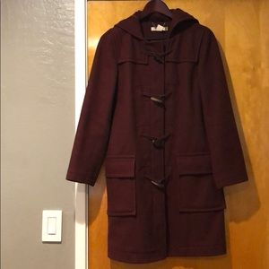 Jcrew wool burgundy toggle coat thinsulate lining